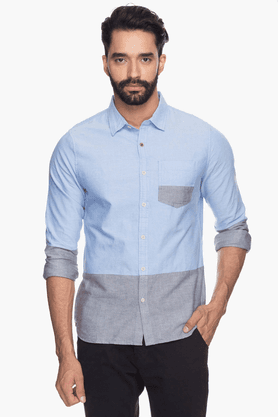 Mens Full Sleeves Slim Fit Casual Colour Block Shirt