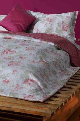 STOA PARIS White Red Cotton King Bedsheet With 2 Pillow Cover (Bedsheet Set (King)