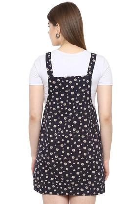 Womens Round Neck Daisy Print Pinafore Dress