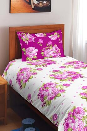 SPACESCotton Floral Single Bedsheet With Pillow Cover - 201613164