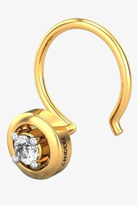VELVETCASEWomens 18 Karat Yellow Gold Nose Ring (Free Diamond Pendant) - 201065006