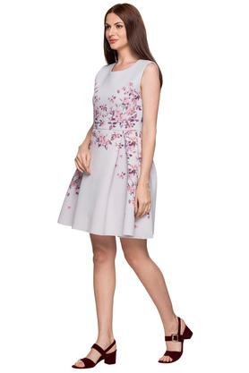 Womens Round Neck Floral Printed Skater Dress