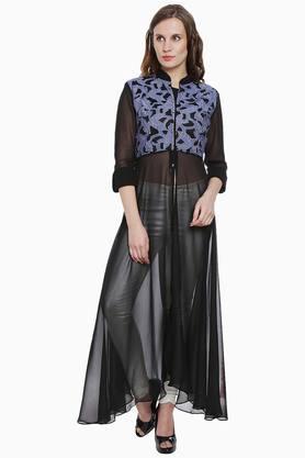 SOIEWomens Mandarin Neck Embroidered Tunic - 202349250