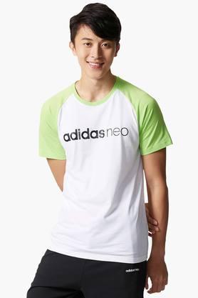 ADIDAS Mens Round Neck Colour Block T-Shirt  ...