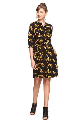Womens Mandarin Collar Floral Print Shirt Dress