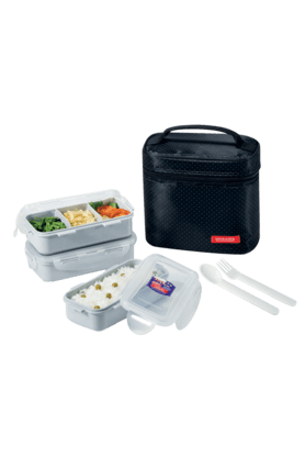 LOCK & LOCK Lunch Box Set With Black Bag - Spoon And Fork (Set Of 3)