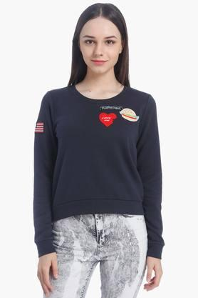 ONLY Womens Round Neck Solid Appliqued Sweatshirt (Buy For Rs.5000/- And Get Rs.1000/- Off)