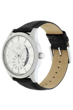 Mens White Dial Leather Analogue Watch - 40024SL01E