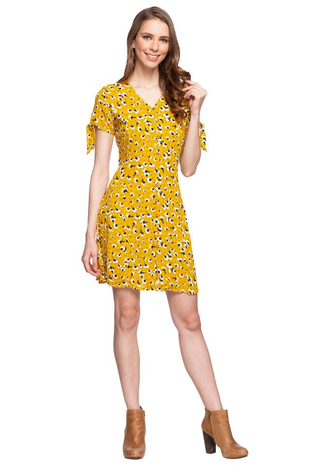 Womens V Neck Floral Print Short Dress