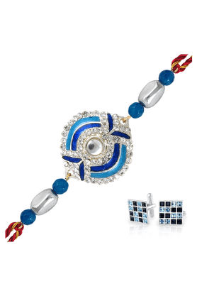 MAHI Combo Of Azure Devotion Rakhi And Black & Blue Rhodium Rhodium Plated Cufflinks