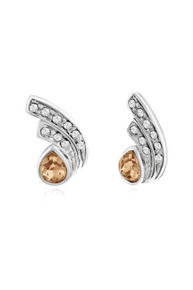 MAHIMahi Rhodium Plated Golden Drop Peacock Feather Earrings Made With Swarovski Elements For Women ER1194106RGol