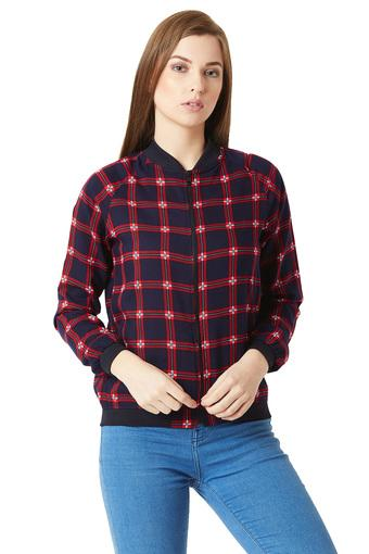 Womens Zip Through Neck Checked Bomber Jacket