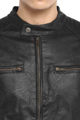 Mens Band Collar Solid Leather Jacket
