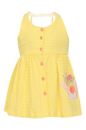 Girls Halter Neck Embroidered Flared Dress