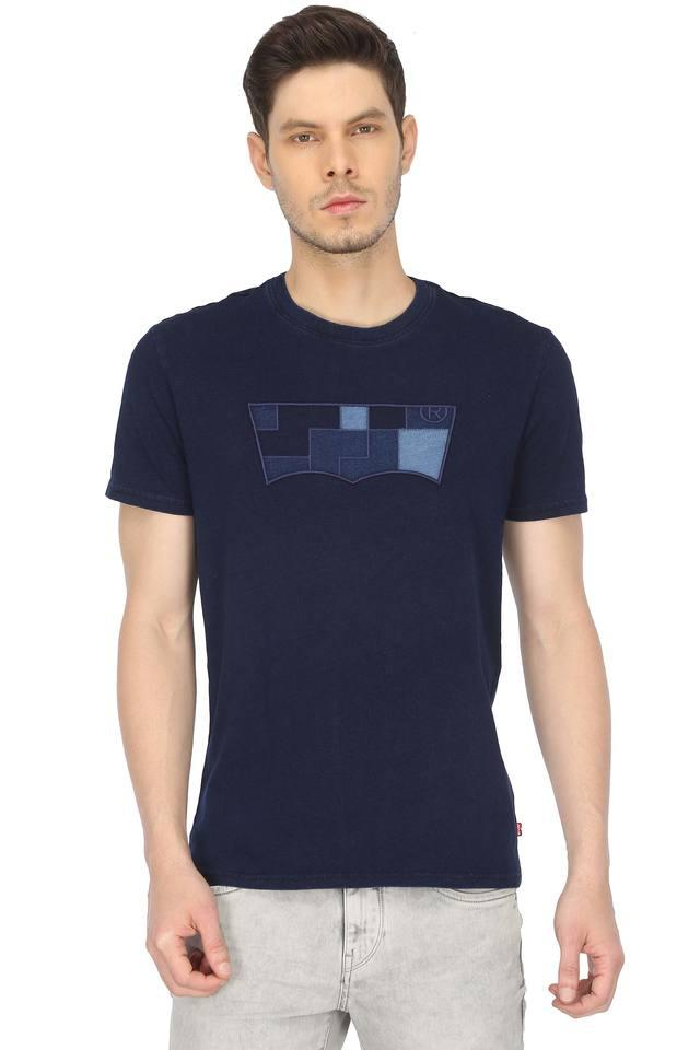 Mens Round Neck Patch Work T-Shirt