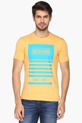 UNITED COLORS OF BENETTONMens Round Neck Printed T-Shirt - 201942103