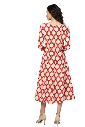 Womens Fit and Flared Tie Up Neck Printed Embroidered Midi Dress