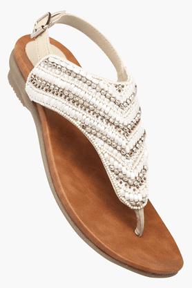 LEMON & PEPPERWomens Party Ankle Buckle Closure Flat Sandal
