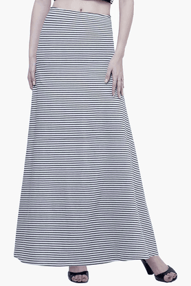 FABALLEY Womens Striped Maxi Skirt