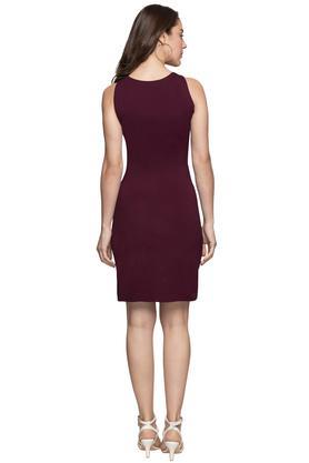 Womens Scoop Neck Solid Bodycon Dress