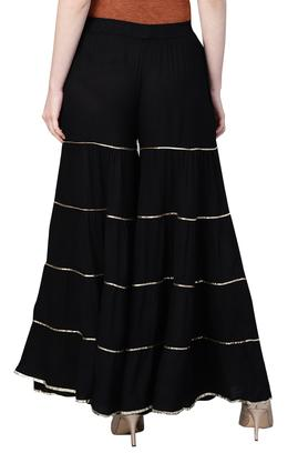 Womens Solid Gota Embroidery Tiered Sharara Pants