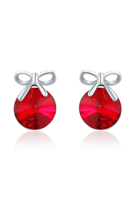 MAHI Mahi Made With Swarovski Elements Rhodium Plated Red Stud Earrings For Women ER1194080RRed