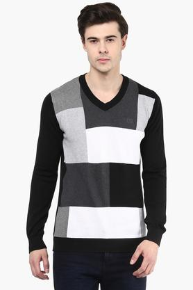 VAN HEUSEN Mens V Neck Colour Block Pullover
