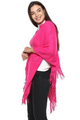 Womens V Neck Slub Knitted Poncho Shrug