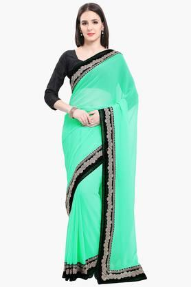 Women Faux Georgette With Lace Solid Saree