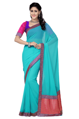 DEMARCA Womens Faux Chiffon Saree (Buy Any Demarca Product & Get A Pair Of Matching Earrings Free)
