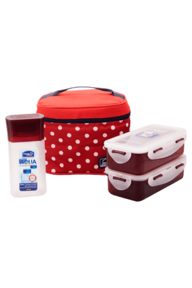 LOCK & LOCK Lunch Box Set With Red Polka Bag