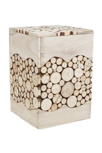 Fire Wood Slice Assorted Rectangular Stool