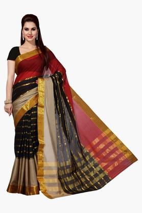 ISHIN Women Mercerised Cotton Silk Solid Saree - 202528741