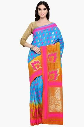 Womens Art Silk Golden Weave Saree With Blouse Piece