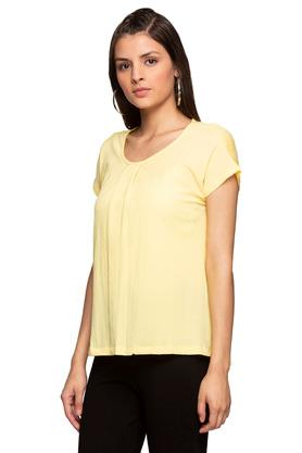 Womens Round Neck Solid Pleated Top