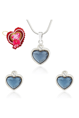 MAHIMahi Montana Blue Heart Pendant Set Made With Swarovski Elements With Heart Shaped Card For Women NL5104109RBluCd