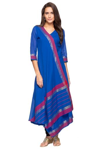 Womens V Neck Stripe Asymmetrical Layered Kurta