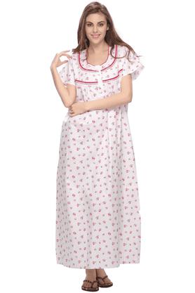 cddd7a085320a X CLOVIA Women Floral Printed Soft Long Nighty