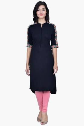 JUNIPER Women Kurta With Embroidered Sleeves