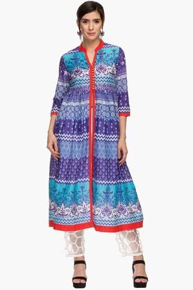 HAUTE CURRY Womens Mandarin Neck Printed Kurta And Pant Set