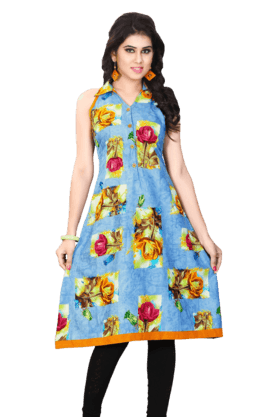 DEMARCA Womens Sleeveless Kurta (Buy Any Demarca Product & Get A Pair Of Matching Earrings Free)