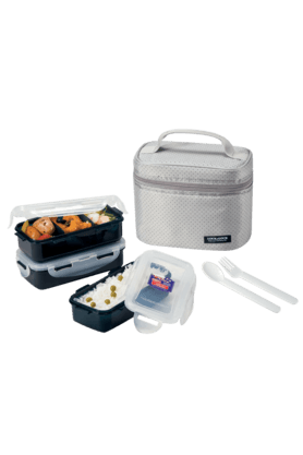 LOCK & LOCKLunch Box Set With Gray Bag - Spoon And Fork (Set Of 3)