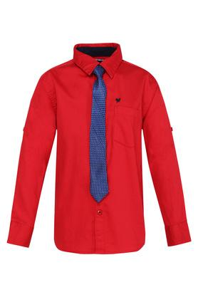 Boys Collared Solid Shirt with Tie
