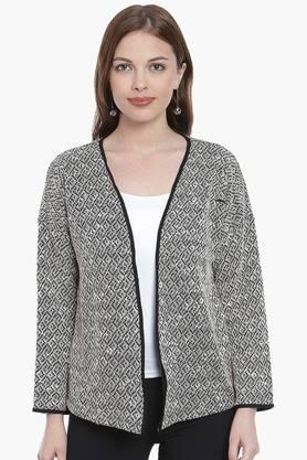 ZINK LONDON Womens Open Neck Printed Shrug (Buy 2 And Get Leather Pouch Free)