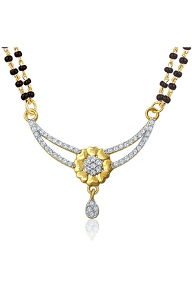 MAHI Mahi Gold Plated Shades Of Love Mangalsutra Pendant With CZ For Women PS1196003G2