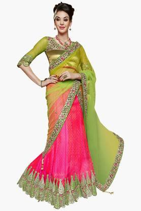 MAHOTSAV Womens Cut-work Semi-stitched Lehenga Choli