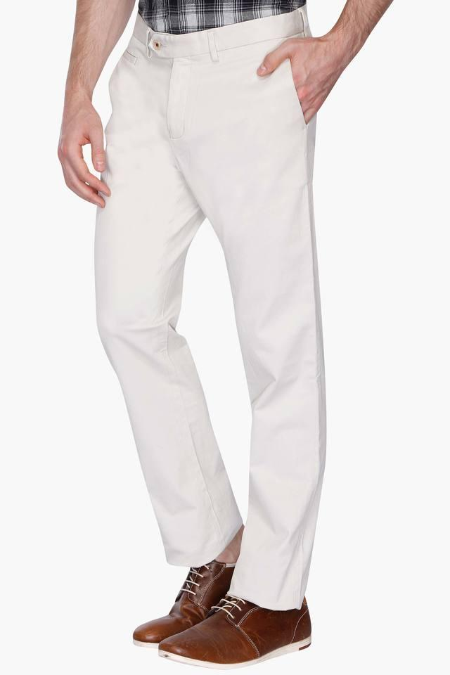 Mens Flat Front Slim Fit Solid Trouser