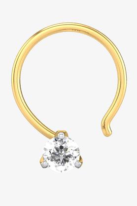 VELVETCASEWomens 18 Karat Yellow Gold Nose Ring (Free Diamond Pendant) - 201064989