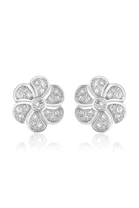 MAHI Mahi Rhodium Plated Micro Pave Bloom Stud Earrings With CZ Stones For Women ER1109339R