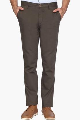 WILLS LIFESTYLE Mens Slim Fit 4 Pocket Solid Trousers  ...
